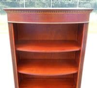 SOLD - Tall Mahogany Bowfront Open Standing Bookcase